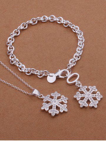 Shop Christmas Snowflake Necklace and Bracelet - SILVER  Mobile