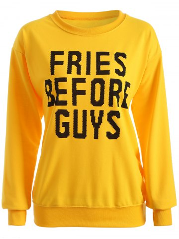 Affordable Casual Letter Print Long Sleeve Sweatshirt YELLOW XL