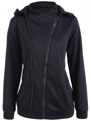 Shop Hooded Inclined Zip Jacket BLACK XL