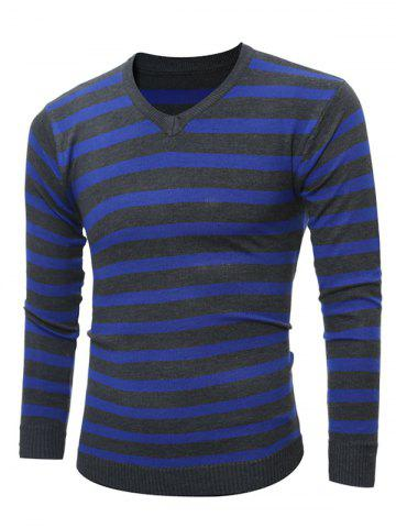 Shop V Neck Striped Knitting Sweater CADETBLUE 2XL