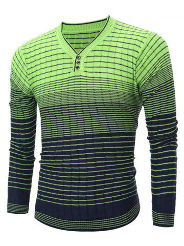Chic V Neck Ombre Striped Knitting Sweater GREEN 2XL