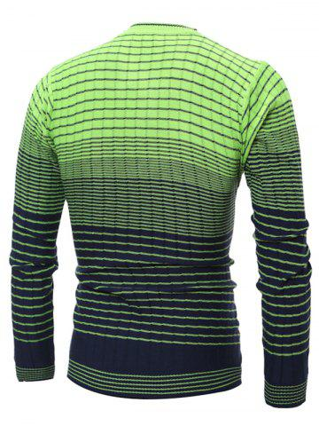 New V Neck Ombre Striped Knitting Sweater - L GREEN Mobile