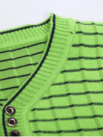 Store V Neck Ombre Striped Knitting Sweater - L GREEN Mobile