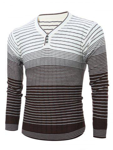Cheap V Neck Ombre Striped Knitting Sweater WHITE XL