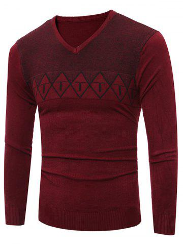 Cheap V Neck Argyle Graphic Spliced Knitting Sweater WINE RED 2XL