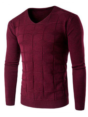 V Neck Checked Graphic Knitting Sweater - WINE RED 3XL