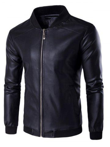Fashion PU Leather Stand Collar Zip Up Jacket BLACK 4XL