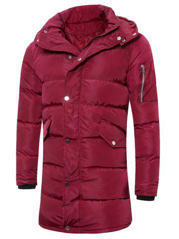 Affordable Hooded Lengthen Thicken Quilted Coat BURGUNDY 4XL
