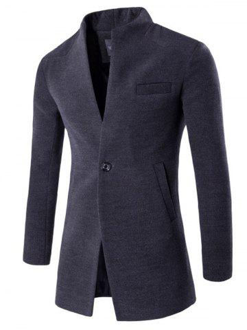 One Button Design Longline Woolen Coat - Deep Gray - M