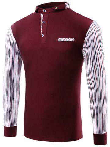 Fancy Striped Splicing Polo Collar T-Shirt WINE RED 3XL