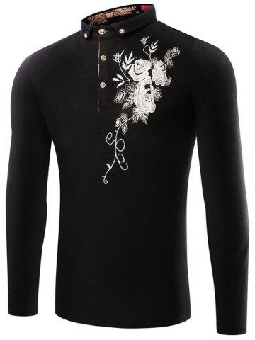 Latest Florals Embroidered Polo Collar T-Shirt BLACK 3XL