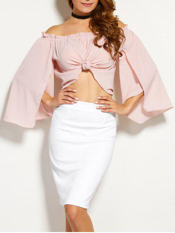 Unique Off The Shoulder Slit Sleeve Ruffled Blouse