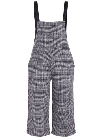 Online Plus Size Houndstooth Check Overalls