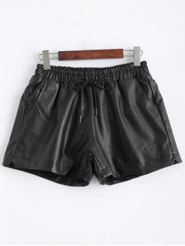 Cheap Plus Size Pocket Design Faux Leather Shorts