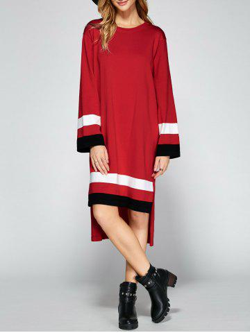 New Asymmetrical Striped Side Slit Shirt Sweater Dress RED ONE SIZE