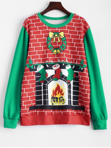 Outfit 3D Fireplace Christmas Sweatshirt RED AND GREEN ONE SIZE