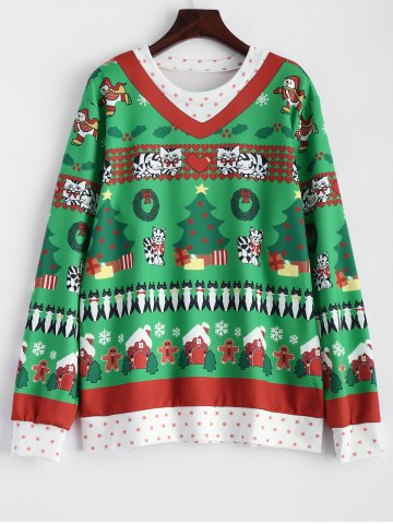 Trendy Christmas Catoon Animal Pattern Sweatshirt
