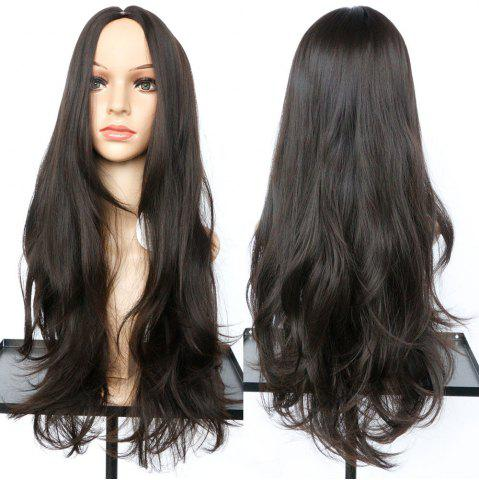 Shop Long Middle Part Slightly Curled Synthetic Wig NUT BROWN