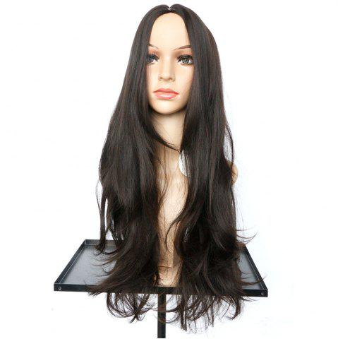 Outfit Long Middle Part Slightly Curled Synthetic Wig - NUT BROWN  Mobile