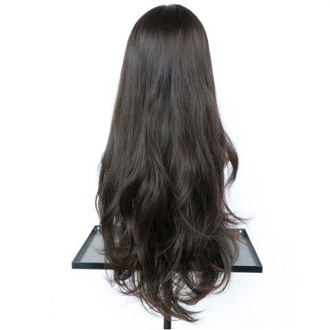 Online Long Middle Part Slightly Curled Synthetic Wig - NUT BROWN  Mobile