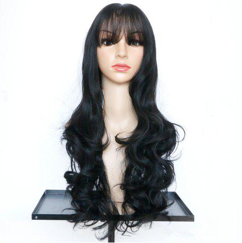 Online Long Full Bang Wavy Synthetic Wig BLACK