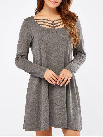 New Long Sleeve Strappy A Line Casual Short Dress GRAY M