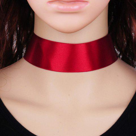 Shops Candy Color Satin Fabric Choker Necklace RED