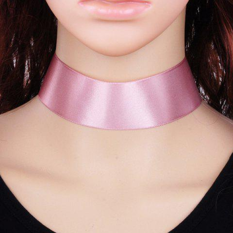 Candy Color Satin Fabric Choker Necklace - PINK