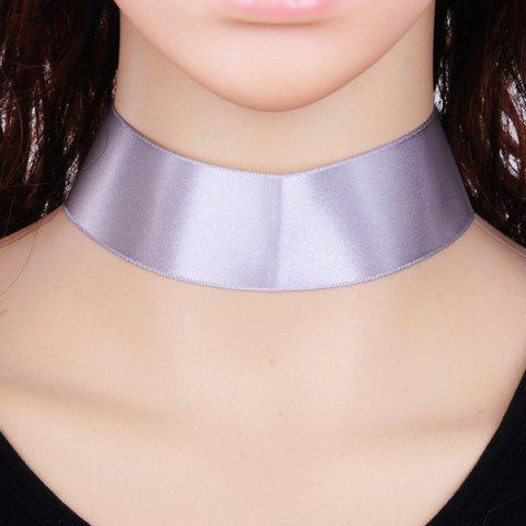 Best Candy Color Satin Fabric Choker Necklace LIGHT GREY