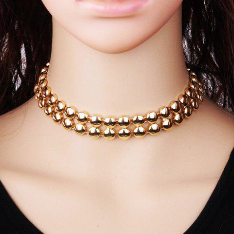 Online Alloy Double Beads Choker Necklace GOLDEN