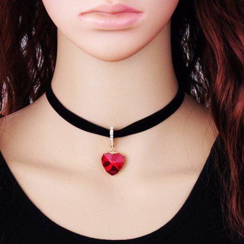 Rhinestone Faux Diamond Heart Pendant Velvet Choker Necklace - RED