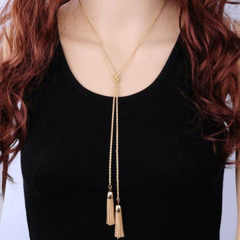 New Alloy Double Tassel Sweater Chain - GOLDEN  Mobile