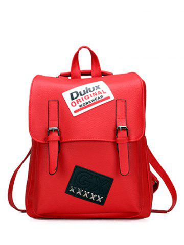 Hot PU Leather Patches Buckles Straps Backpack