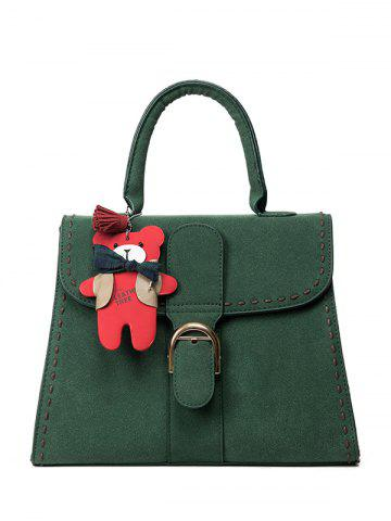 Outfit Stithing Cartoon Pendant PU Leather Tote