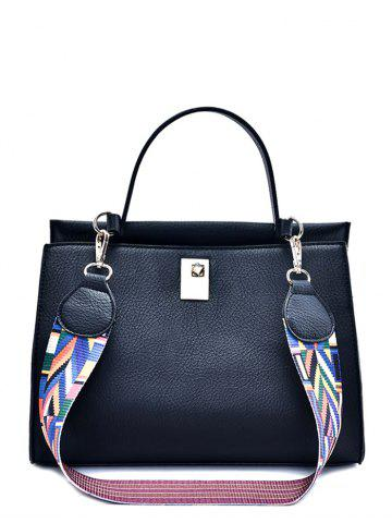 New Metal PU Leather Handbag With Colored Strap