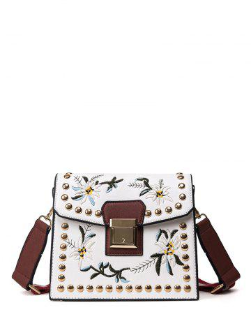 Chic Floral Embroidered Rivet Crossbody Bag