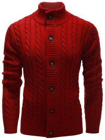 Buy High Neck Button Up Twist Knit Cardigan RED 2XL