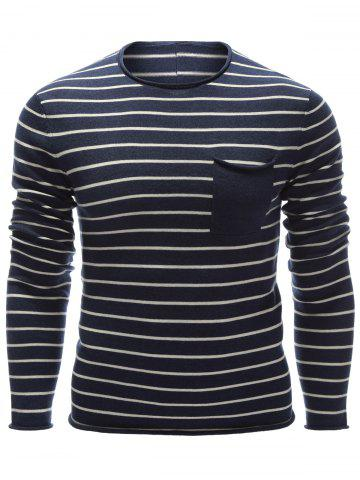 Outfits Round Neck Chest Pocket Striped Sweater CADETBLUE 2XL