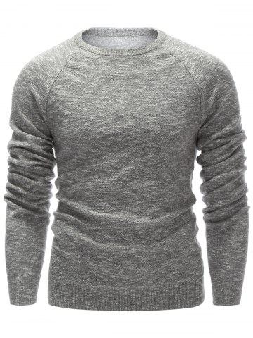 Outfit Raglan Sleeve Crew Neck Flat Knitted Sweater GRAY 2XL