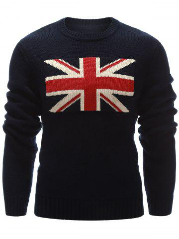 New Flag Pattern Crew Neck Flat Knitted Sweater CADETBLUE 2XL