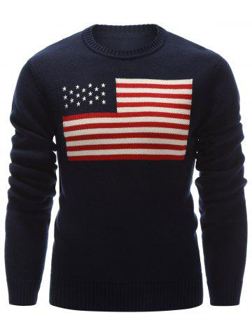 Chic Crew Neck American Flag Pullover Sweater CADETBLUE 2XL