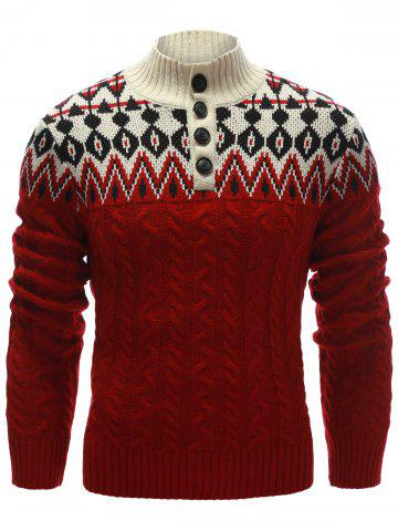 Latest Zigzag Pattern Button Up Cable Knit Sweater RED XL