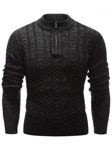 Unique Stand Collar Half Zip Up Cable Knit Sweater BLACK 2XL