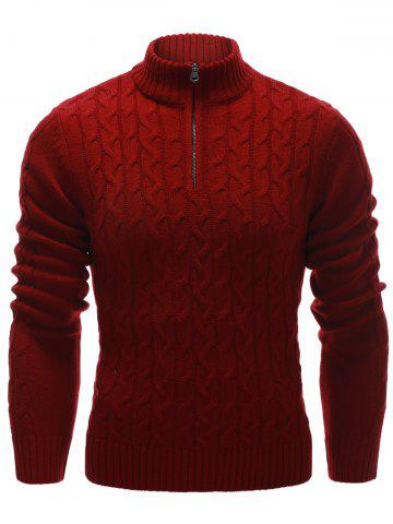 Chic Half Zip Up Cable Knit Pullover Sweater RED 2XL