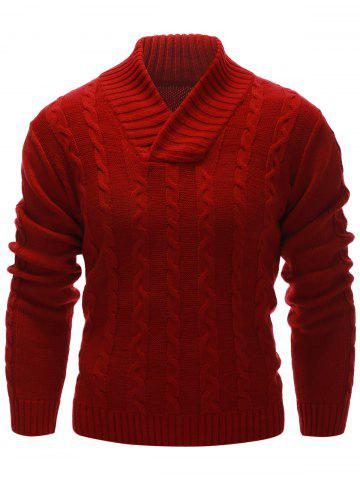Trendy Rib Hem Cable Knit Pullover Sweater RED 2XL