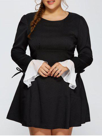 Plus Size Chiffon Cuff Insert Long Sleeve Empire Waist Skater Dress - BLACK 4XL