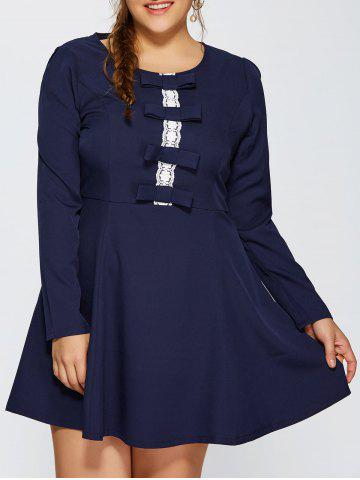 Outfit Bowknot Insert Long Sleeve Flare Dress