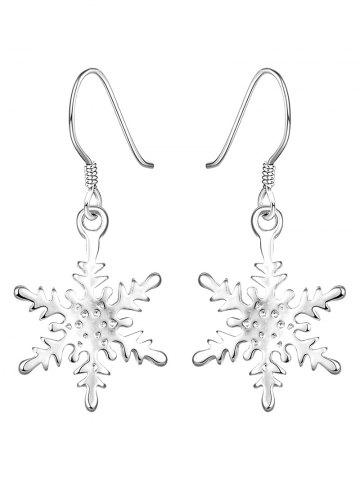 Online Rhinestone Snowflake Christmas Drop Earrings SILVER