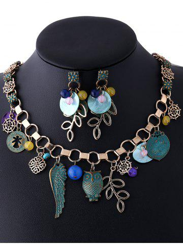 Shops Coin Leaf Beads Necklace and Earrings - BRONZED  Mobile