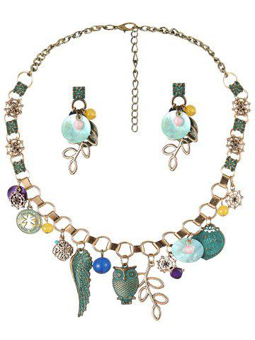 Trendy Coin Leaf Beads Necklace and Earrings - BRONZED  Mobile
